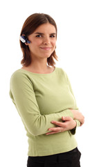 stock photo of a yougn woman wearing headset