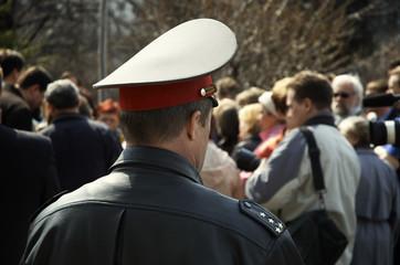 policeman on the mass-meeting