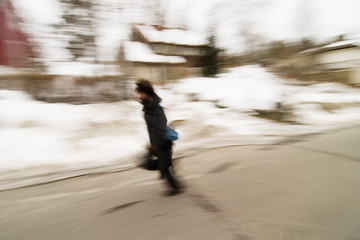 running in motion blur