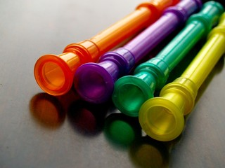 colorful plastic musical instruments