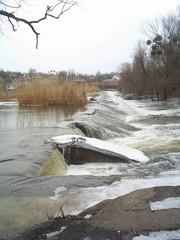 river rosi in city boguslav in ukraine