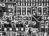 magnified view of a motherboard poster