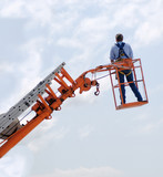 construction worker on power ladder poster