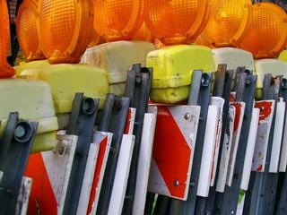 orange reflectors on barricades