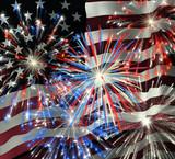 fireworks over us flag 2 poster