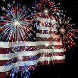 fireworks over us flag 1 poster
