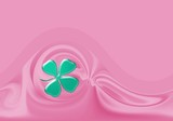 pink background for card. leaf trefoil for fortune poster