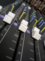 audio mixer and faders