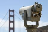 public telescope looks towards golden gate poster