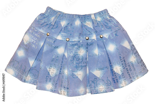 light blue children girl jeans mini skirt isolated