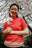 woman holding cherry blossoms poster