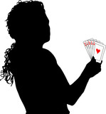 female playing poker poster