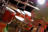 drum set during performance of music band poster