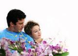 sweet couple with flowers poster
