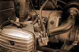 motorcycle engine close-up abstract background poster