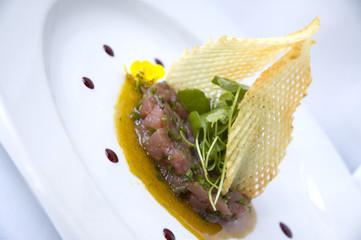 tuna with potato gaufrettes