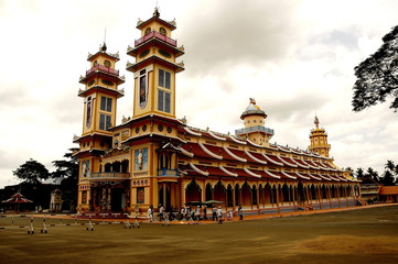 vietnam: caodaist temple of tay ninh
