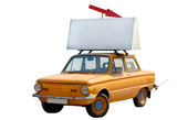 old orange car with banner on top isolated poster