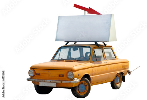 poster of old orange car with banner on top isolated