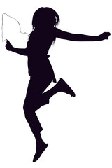 silhouette with clipping path of teen jumping