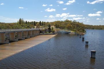 spillway, gates and bridge