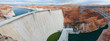 canvas print picture - glen canyon dam and bridge panorama