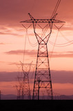 electricity lines with sunset skies poster