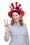 patriotic woman flashing peace symbol