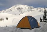 tent in front of mount rainier poster