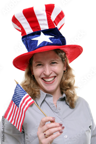 patriotic lady against white background