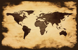 world map on grunge background poster
