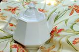 vintage white tea pot poster