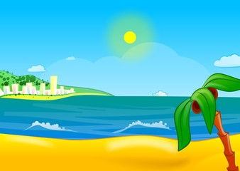 vector illustration of sunny beach
