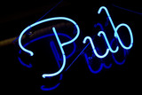 neon sign saying pub
