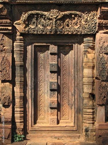 door detail, banteay srei, angkor, cambodia