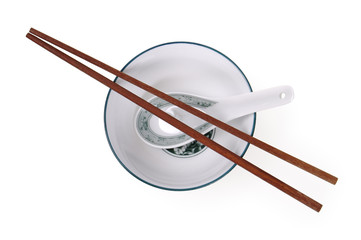 chopsticks, bowl, and spoon