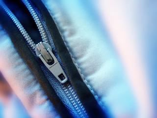 close up of zipper teeth