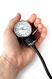 manual blood pressure monitor in hand medical tool isolated poster