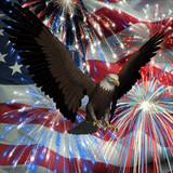 eagle over fireworks and usa flag poster