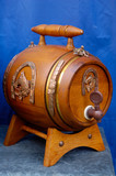 antique wooden small beer barrel retro object poster