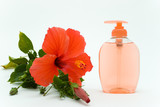 pink soft soap with flower poster