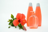 pink soft soap and shampoo with flower poster