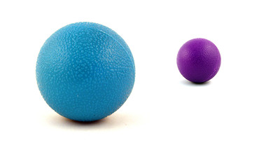 blue and pink ball