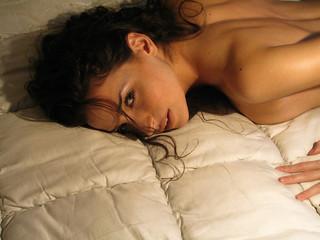 beautiful girl on bed