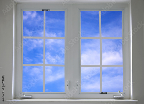 window with blue sky