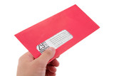 hand hold red advertising envelope poster