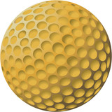 gold golf ball illustration poster
