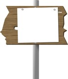 blank sign on a cedar plank poster