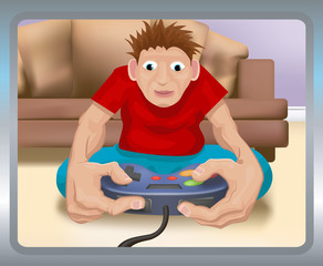playing on the games console