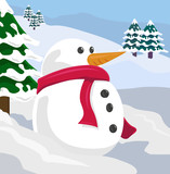 snowman in winter scene poster